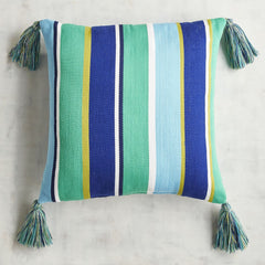Cool Stripe Tassel Square Pillow-GoGetGlam