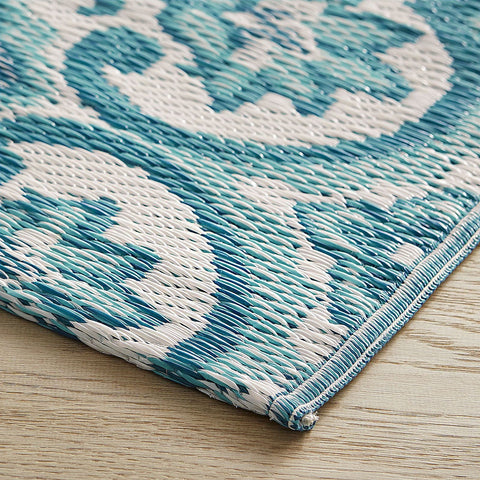 Waterproof Outdoor Blue Damask 4x6 Rug-GoGetGlam