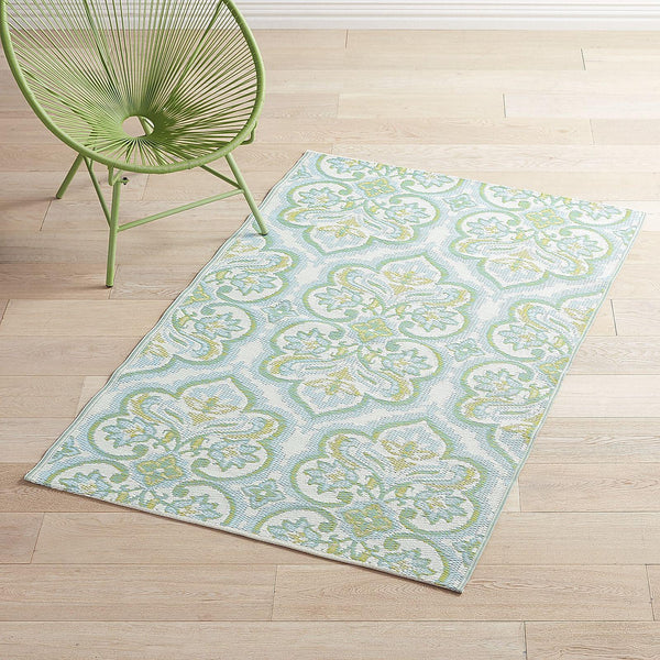 Waterproof Outdoor Green Damask 4x6 Rug-GoGetGlam