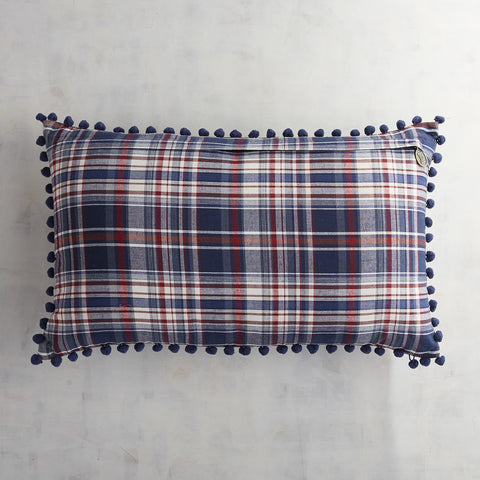 Plaid Appliqued Flowers Lumbar Pillow-GoGetGlam