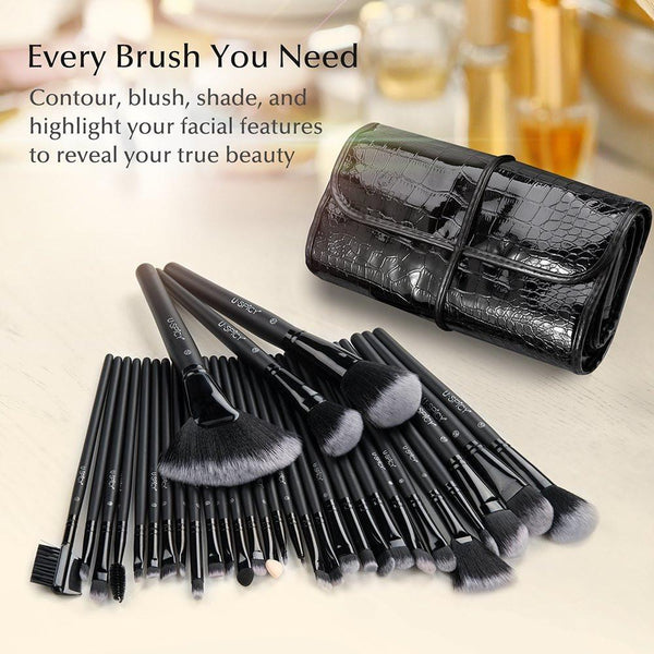 32 PC Premium Pro Makeup Brush Set with Travel Pouch-GoGetGlam