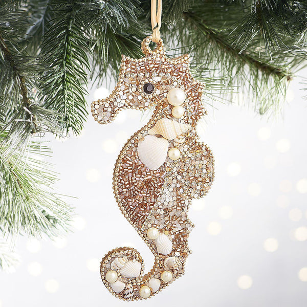 Beaded Seahorse Holiday Ornament