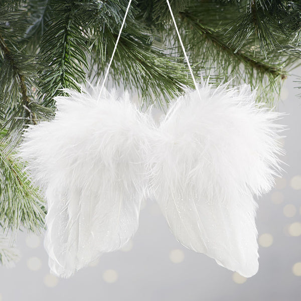 Set of 2 Feather Angel Wings Ornaments