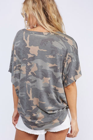 French Terry Front Knot Camo Top - GoGetGlam Boho Style