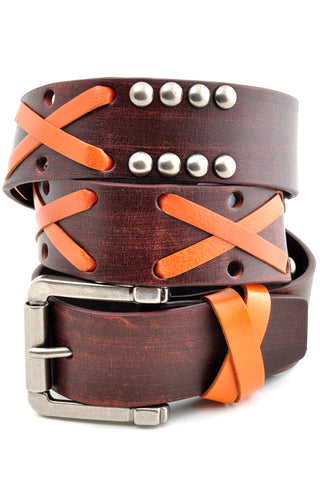 Premium Leather Lace & Stud Belt