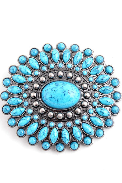 Rows of Turquoise Belt Buckle-GoGetGlam