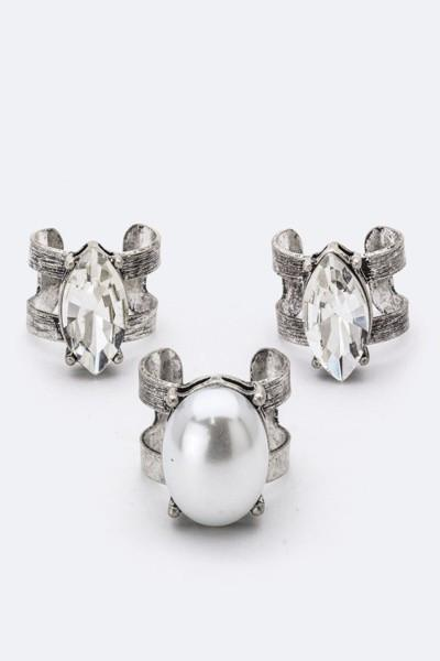 3PC Pearl & Marquise Crystal Rings Set-GoGetGlam