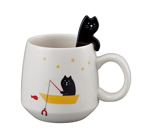 GONE FISHING Cute Cat Mug with Spoon - Boho Bohemian Decor