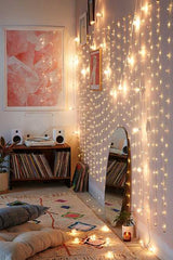 White 54 LED Boho Style Star Lights Curtain Fairy String