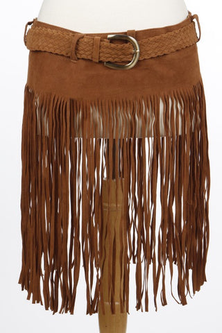 Cutout Fringed Detail Braided Belt