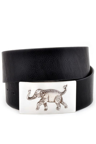Leather Belt with Elephant Buckle