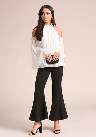 Pleated Cold Shoulder White Blouse-GoGetGlam