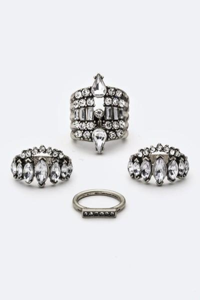 4PC Mixed Crystal Vintage Look Ring Set-GoGetGlam
