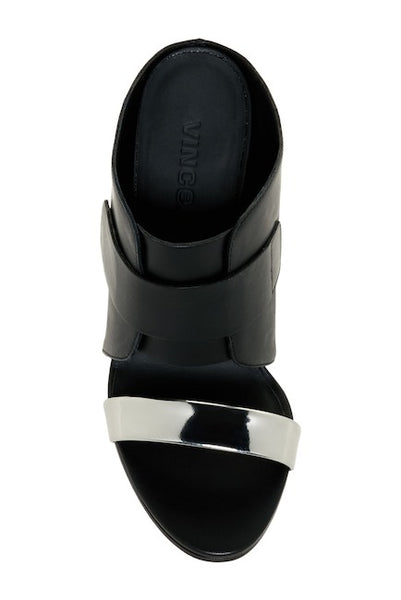 VINCE Karima 2 Black Leather Wedge Sandal