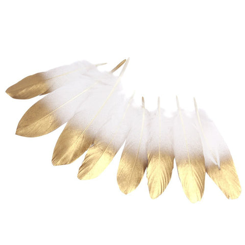 36PCS Gold Dipped Natural White Feathers - GoGetGlam Boho Style