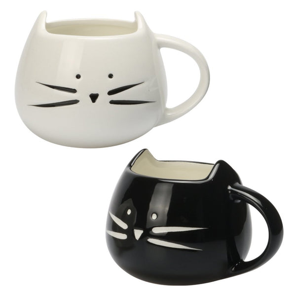 Set of 2 Cute Cat Mugs - Boho Bohemian Decor