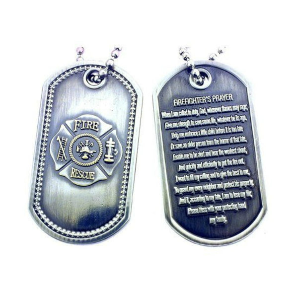 Firefighter's Prayer Brushed Steel Dog Tag Necklace - Boho Bohemian Decor