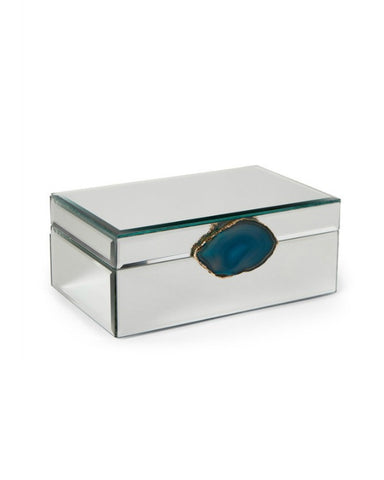 Teal Agate Embellished Mirrored Jewelry Box - GoGetGlam Boho Style