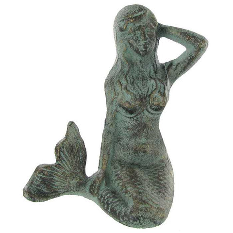 Cast Iron Sitting Mermaid Figurine - Boho Bohemian Decor