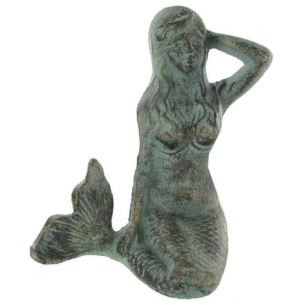 Cast Iron Sitting Mermaid Figurine-GoGetGlam