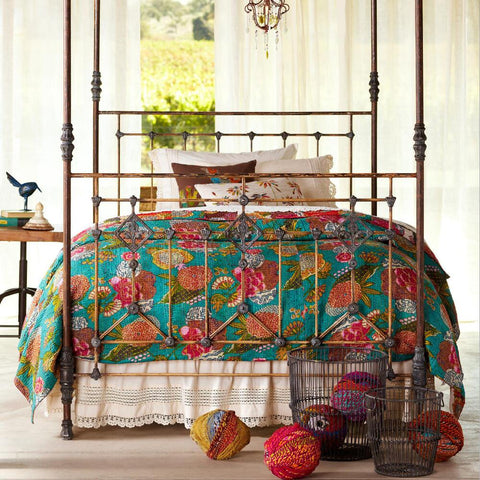 India Artisan Bohemian Teal Bed Throw Quilt - Boho Bohemian Decor