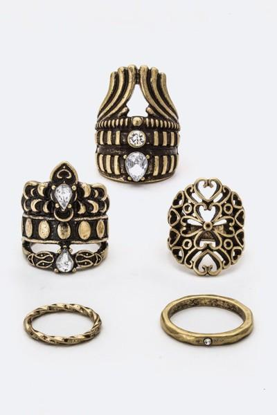 5PC Mixed Crystal Antiqued Gold Ring Set-GoGetGlam
