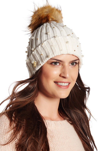 Betsey Johnson Faux Fur Pompom Beanie Ivory Hat-GoGetGlam