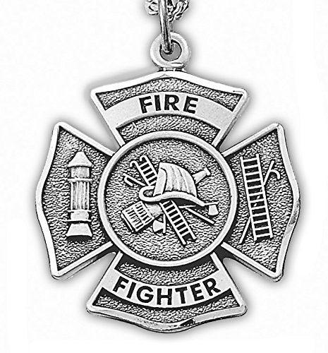 Sterling Silver Firefighter Medal Pendant Necklace - Boho Bohemian Decor