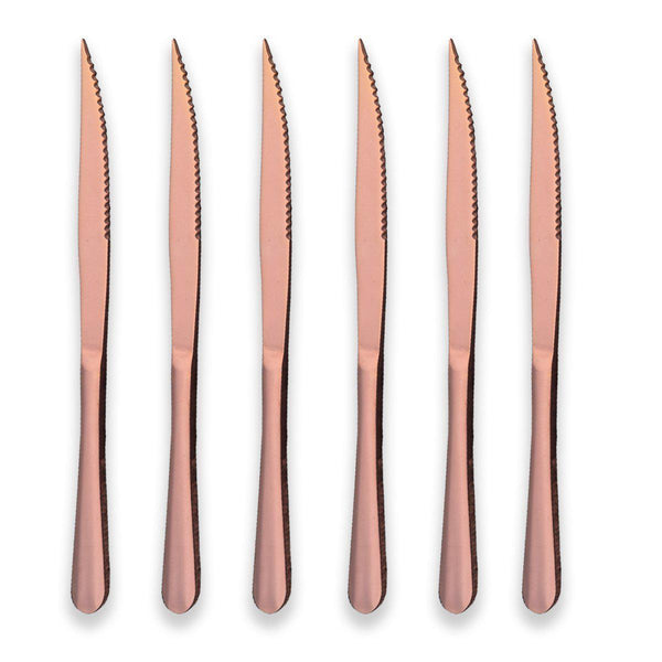 Rose Gold Reflection 6-PC Ultra Sharp Stainless Steak Knives-GoGetGlam