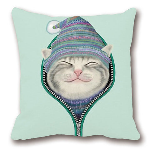 Unzipped Smiling Cat Throw Pillow-GoGetGlam