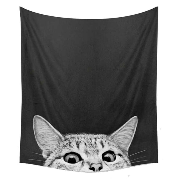 Peek-a-Boo Kitty Cat Fabric Wall Tapestry - GoGetGlam Boho Style