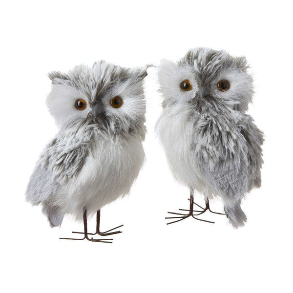 Kurt Adler Fluffy Hanging Owl Ornament Sets