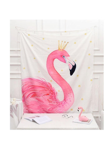 Pink Flamingo Princess Fabric Wall Tapestry - Boho Bohemian Decor