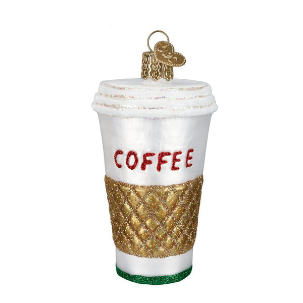 Cup of Coffee Blown Glass Christmas Ornament
