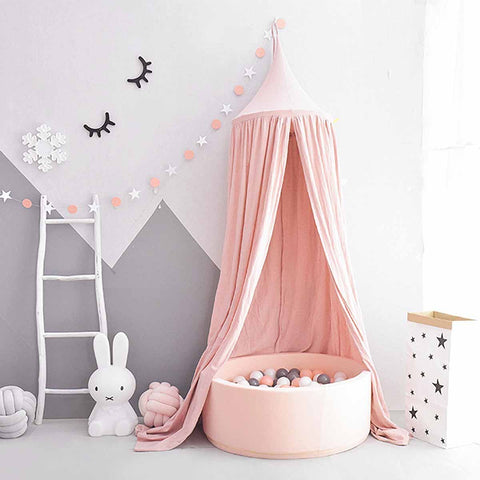Pink Princess Bed Canopy & Fairy Lights - Boho Bohemian Decor