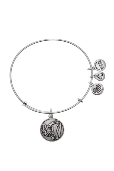 Alex and Ani Because I Love You Silver Bangle Bracelet-GoGetGlam