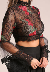 Black Rose Lace Bell Sleeve Crop Top-GoGetGlam