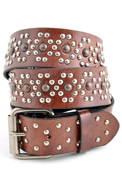 Premium Oil-Tanned Studded Leather Belt-GoGetGlam