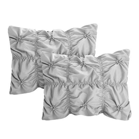 6PC Hannah Silver Ruche Waterfall Pleat Comforter SET - GoGetGlam Boho Style
