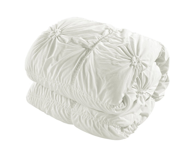 6PC Hannah White Ruche Waterfall Pleat Comforter SET-GoGetGlam