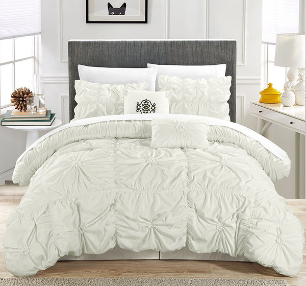 6PC Hannah White Ruche Waterfall Pleat Comforter SET - GoGetGlam Boho Style