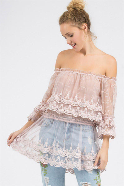 Emelie Lace Off Shoulder Bell Sleeve Top-GoGetGlam