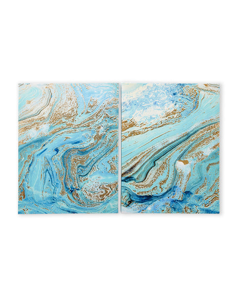 Set of 2 Mermaid Marble Blue Wall Art Panels - Boho Bohemian Decor