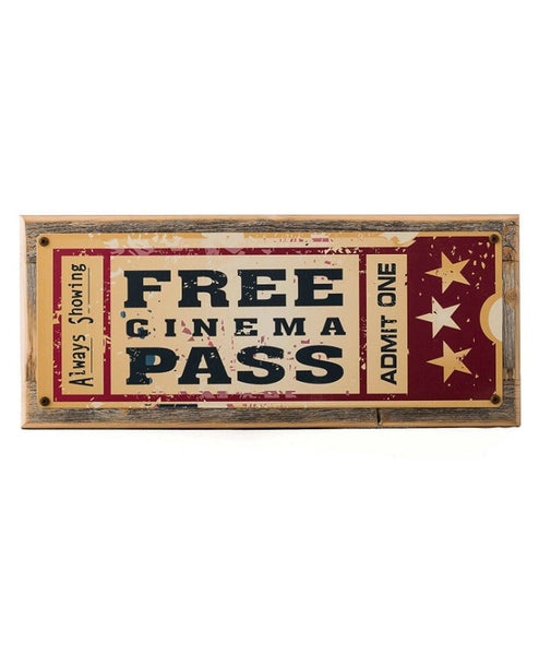 Movie Pass Metal Wall Sign-GoGetGlam