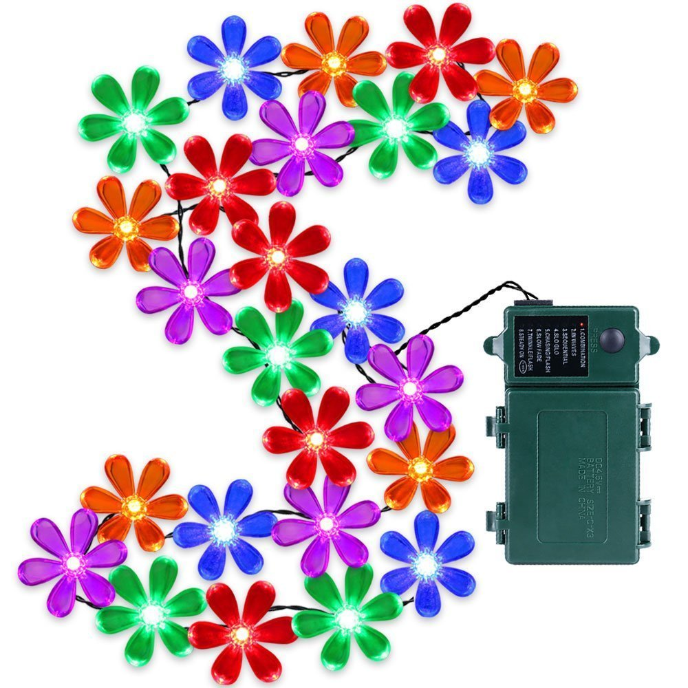 30 Multi Color LED Wildflower String Lights