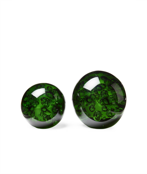 Set of 2 Green Blown Glass Orbs