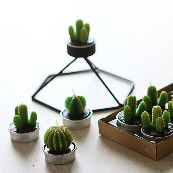 Mini Cactus Wax Tealight Candle Set-GoGetGlam