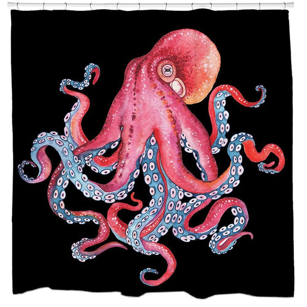 The Octopus Squid Bathroom Fun Shower Curtain - Boho Bohemian Decor