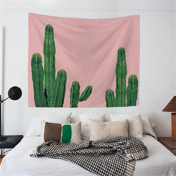 Pink Horizon Cactus Wall Tapestry - Boho Bohemian Decor