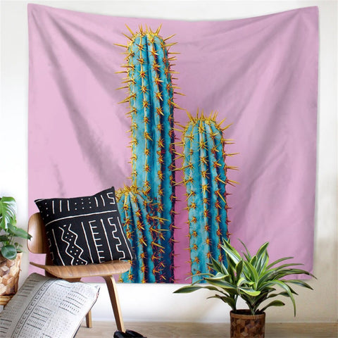 Prickly Pear Cactus Pink Wall Tapestry